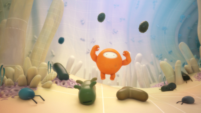 Render from MOA animation of interior, stylised gut with characterised drug