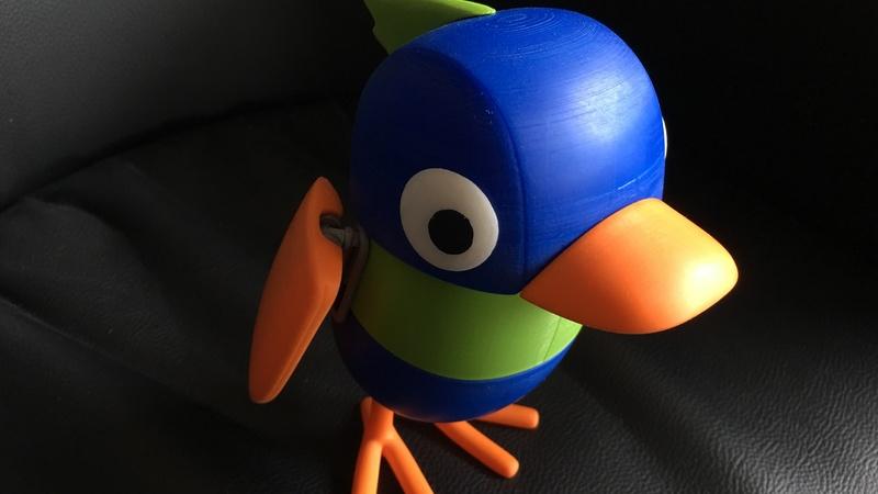close up of 3d printed bird