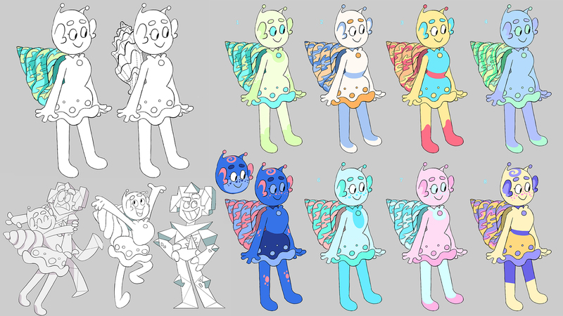 Sketch and colour roughs of Bean character development
