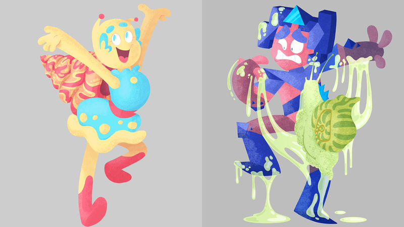 colour artwork of Bean and Grypp characters