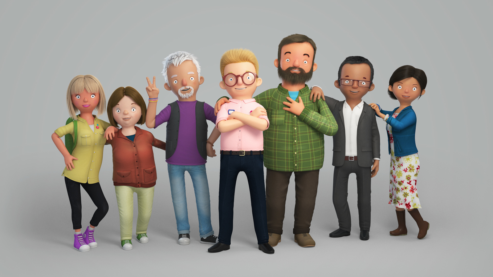 Group shot of all the characters featured in the latest Car People adverts.