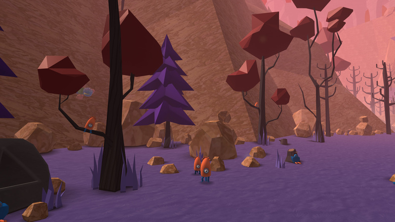 Preview image from The Valley with some little orange creatures inquisitively approaching the viewer