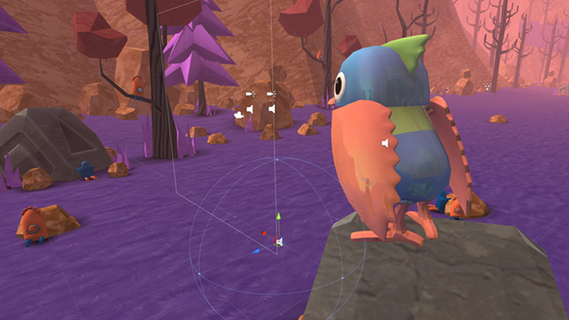 Screen grab of the bird from Herd & Bird in Unity software.