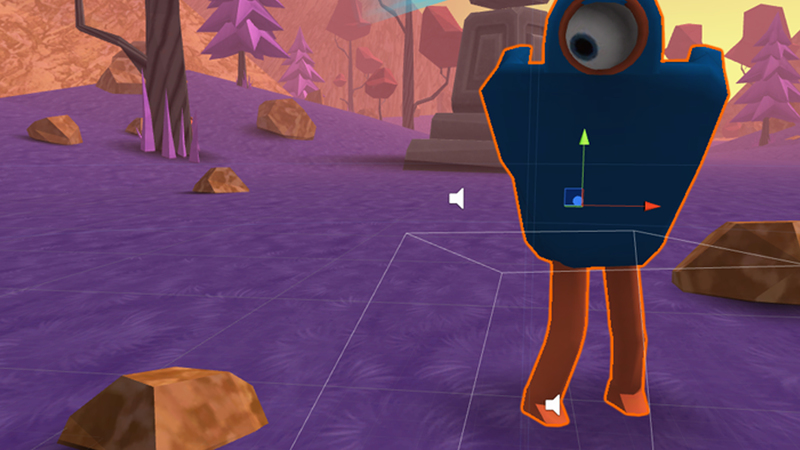 Screen grab of the a blue and orange character in Unity software.