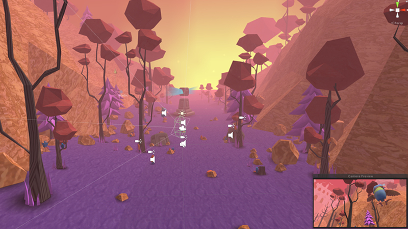 Screen grab of Valley, Long shot from within Unity software.