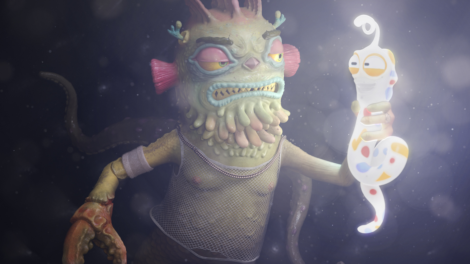 Render of the OG 3D still of underwater, string vest wearing character, with claws, tentacles and ogre style face, who is holding day glo worm charatcer