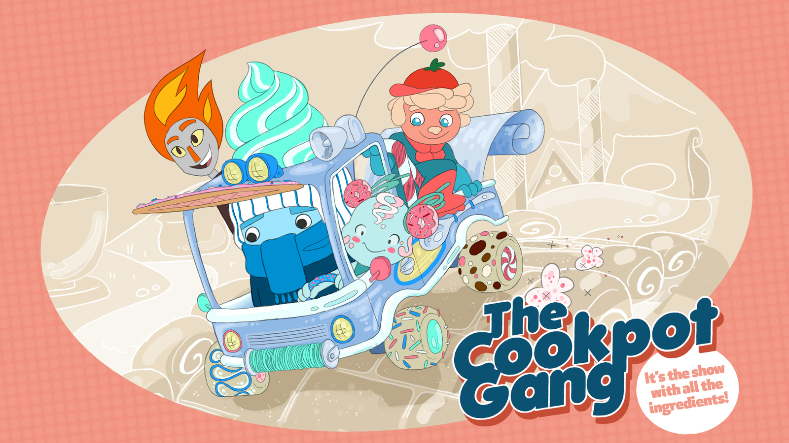2d Artwork of The Cookpot Gang in their sardine tin car, racing off on their next adventure