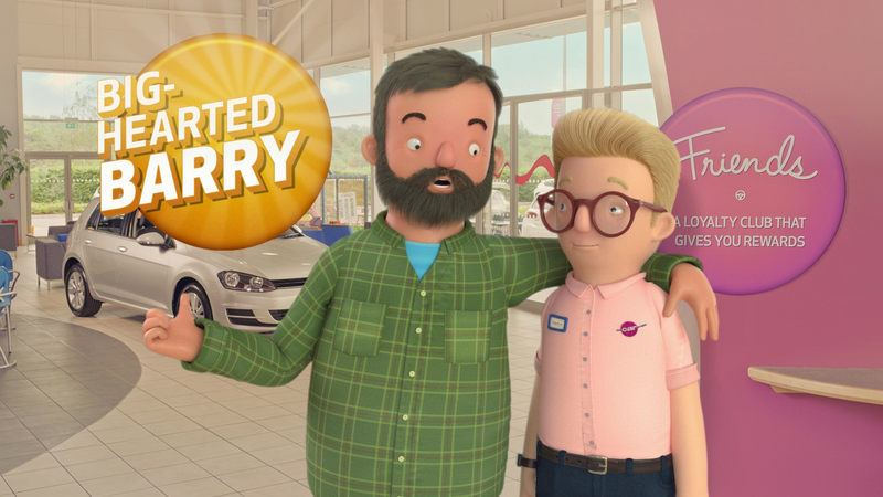 Still of Big Hearted Barry and Martyn, 3d characters from the Car people, comosited into live action showroom