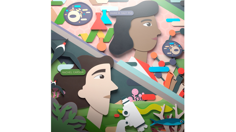 Illustration of Rachel Carson and Marie M. Daly PhD with icons representing science and the environment in a flat, paper cut style created in CG