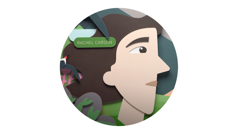 Illustration of Rachel Carson, environmentalist.