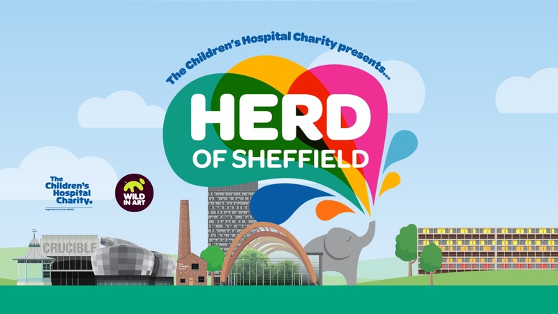 Herd of Sheffield logo, illustration of elephant blowing colourful water through his trunk.