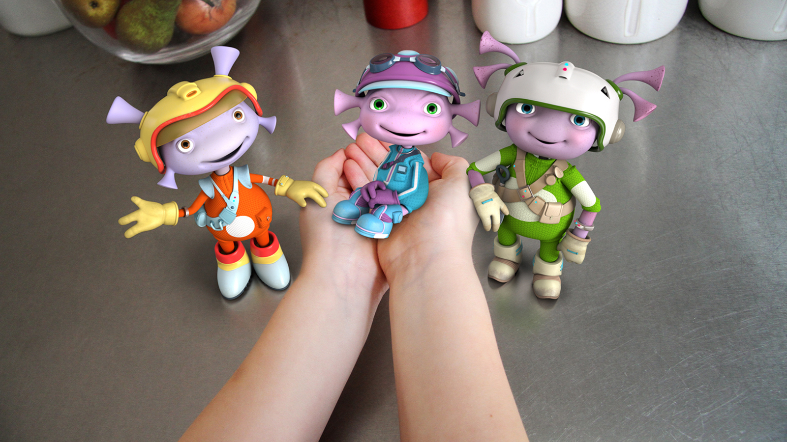 Floogals composited into kitchen scene