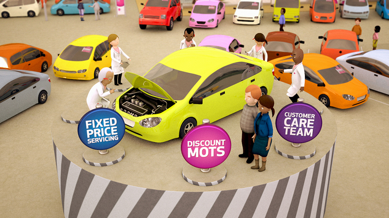 Frame from 'How Car Buying Should Be' animation, showing testers assessing car