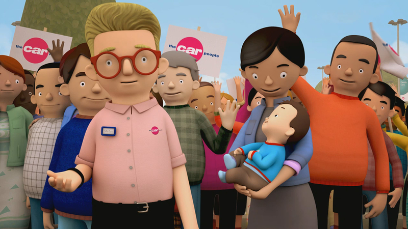 Frame from 'Choice' animation, showing Martin with customers