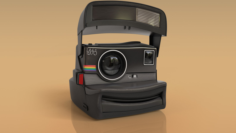 Hi-res 3d still of instant camera for print campaign